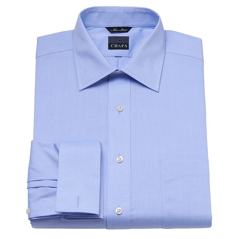 Chaps classic fit solid no iron spread collar dress shirt for Men s spread collar shirts