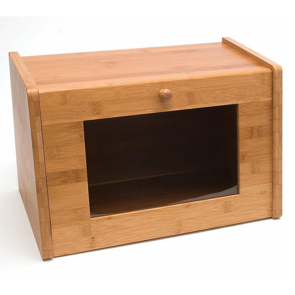 Lipper Bamboo Bread Box with Window Door