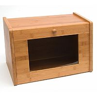 Lipper Bamboo Bread Box with Window Door
