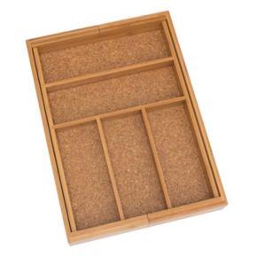 Lipper Bamboo and Cork Expandable Flatware Organizer
