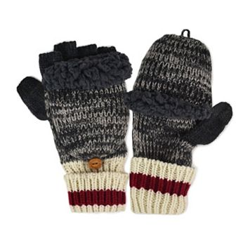 MUK LUKS Sock Striped Marled Convertible Flip-Top Mittens - Men