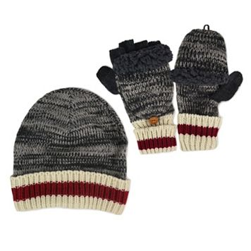 MUK LUKS Sock-Striped Marled Beanie & Convertible Flip-Top Mittens Set - Men