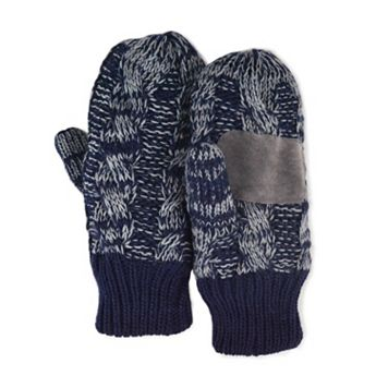 MUK LUKS Two-Tone Cable-Knit Mittens - Men