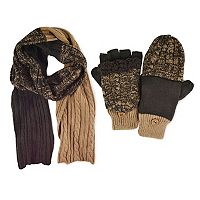 MUK LUKS Colorblock Cable-Knit Scarf & Mittens - Men