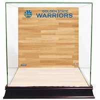 Steiner Sports Glass Basketball Display Case with Golden State Warriors Logo On Court Background