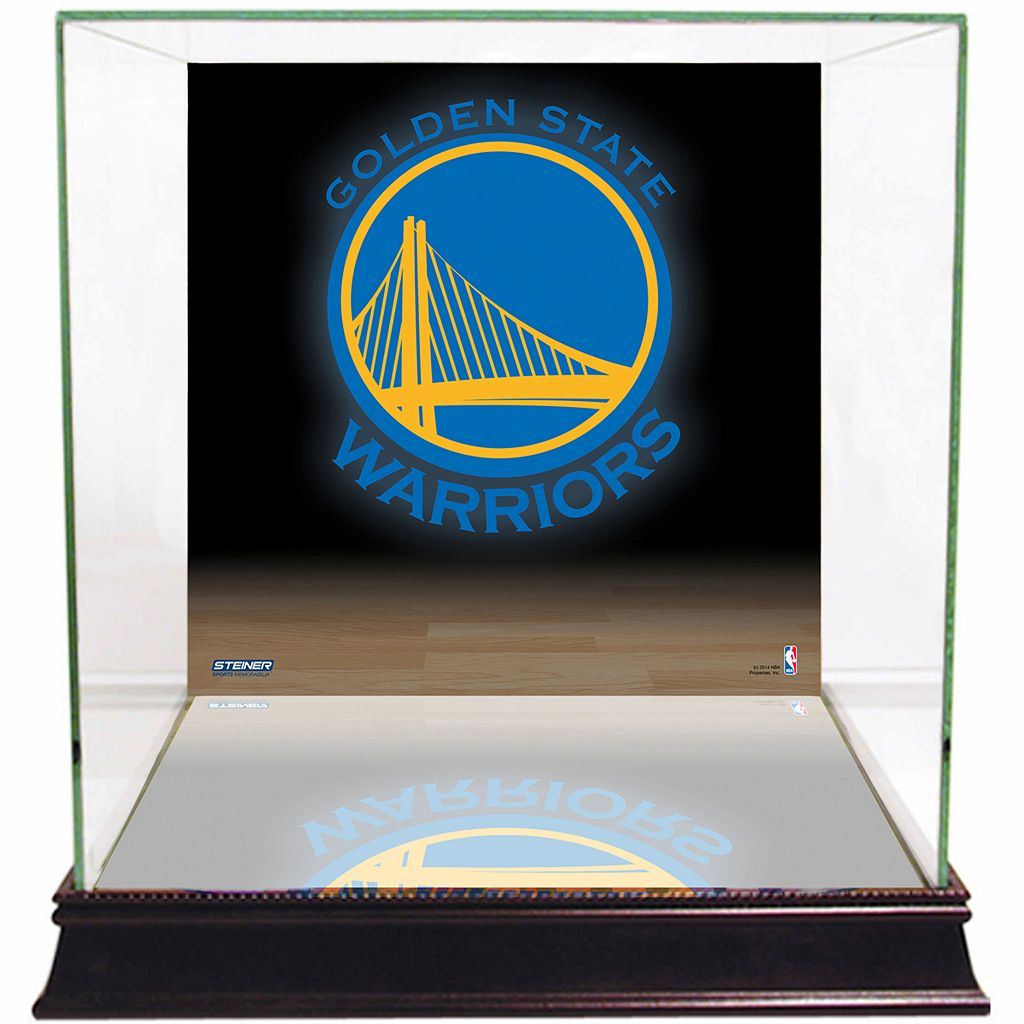 Steiner Sports Glass Basketball Display Case with Golden State Warriors Logo Background