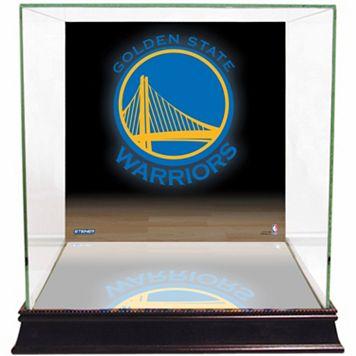 Steiner Sports Glass Basketball Display Case with Golden State Warriors Logo Background