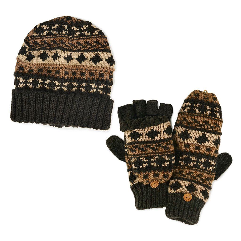 MUK LUKS Fairisle Hat & Mittens - Men