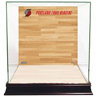 Steiner Sports Glass Basketball Display Case with Portland Trail Blazers Logo On Court Background