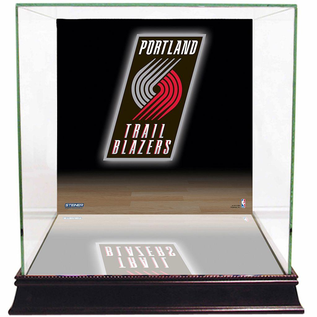 Steiner Sports Glass Basketball Display Case with Portland Trail Blazers Logo Background