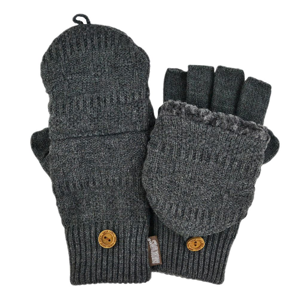 MUK LUKS Fairisle Sherpa-Lined Convertible Flip-Top Mittens - Men