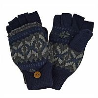 MUK LUKS Nordic Sherpa-Lined Convertible Flip-Top Mittens - Men