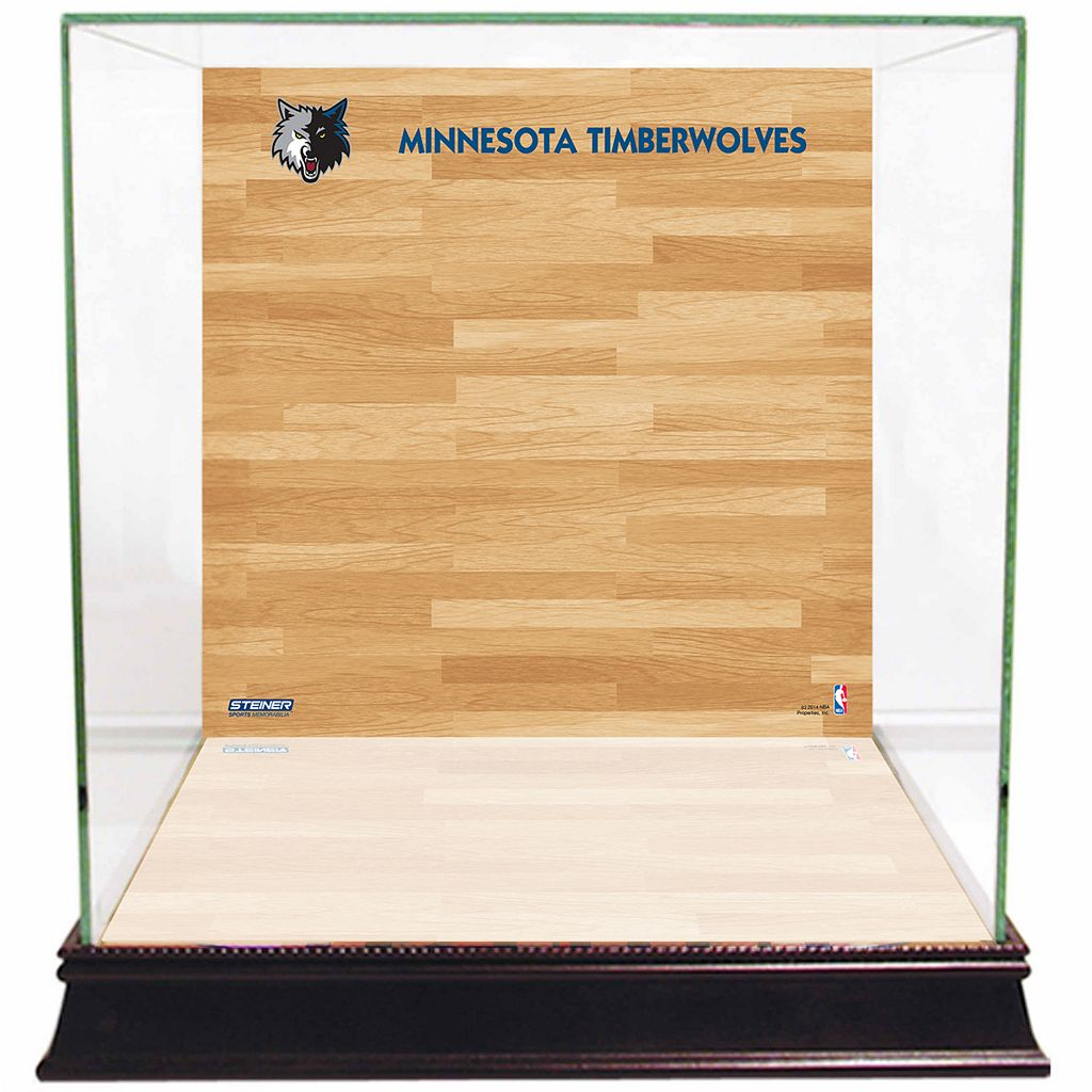 Steiner Sports Glass Basketball Display Case with Minnesota Timberwolves Logo On Court Background