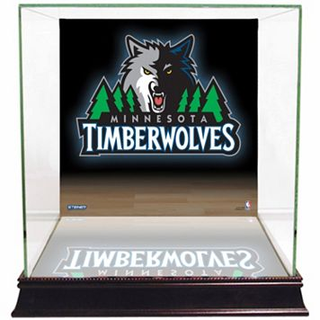 Steiner Sports Glass Basketball Display Case with Minnesota Timberwolves Logo Background