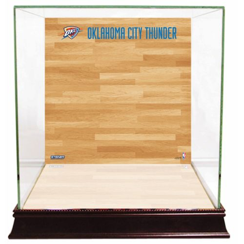 Steiner Sports Glass Basketball Display Case with Oklahoma City Thunder Logo On Court Background