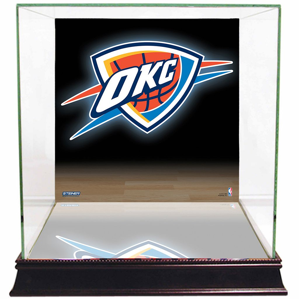 Steiner Sports Glass Basketball Display Case with Oklahoma City Thunder Logo Background