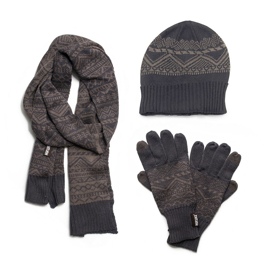MUK LUKS Patterned Fleece-Lined Cuff Beanie Set - Men