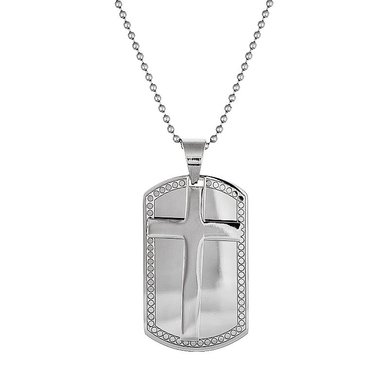 Stainless Steel Cross Dog Tag Necklace - Men (Grey)