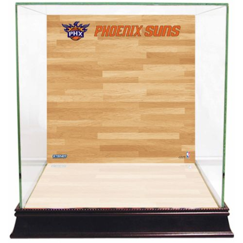 Steiner Sports Glass Basketball Display Case with Phoenix Suns Logo On Court Background