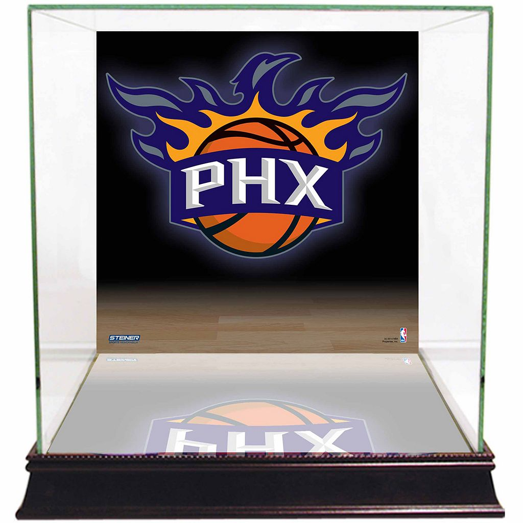 Steiner Sports Glass Basketball Display Case with Phoenix Suns Logo Background