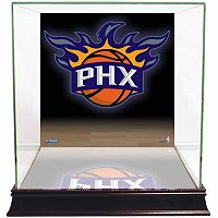 Steiner Sports Glass Basketball Display Case with Phoenix Suns Logo Background