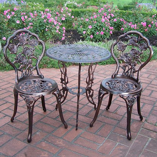 Rose Outdoor Bistro Table 3-piece Set