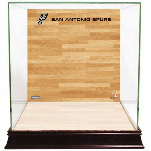 Steiner Sports Glass Basketball Display Case with San Antonio Spurs Logo On Court Background