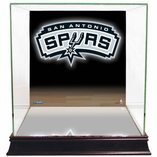 Steiner Sports Glass Basketball Display Case with San Antonio Spurs Logo Background