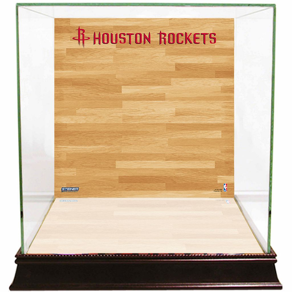 Steiner Sports Glass Basketball Display Case with Houston Rockets Logo On Court Background