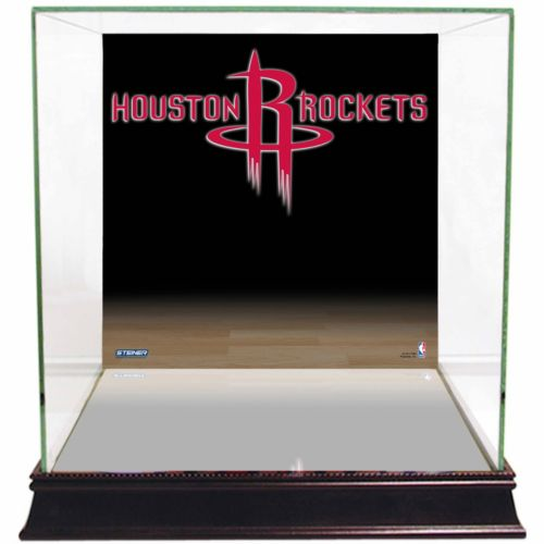 Steiner Sports Glass Basketball Display Case with Houston Rockets Logo Background
