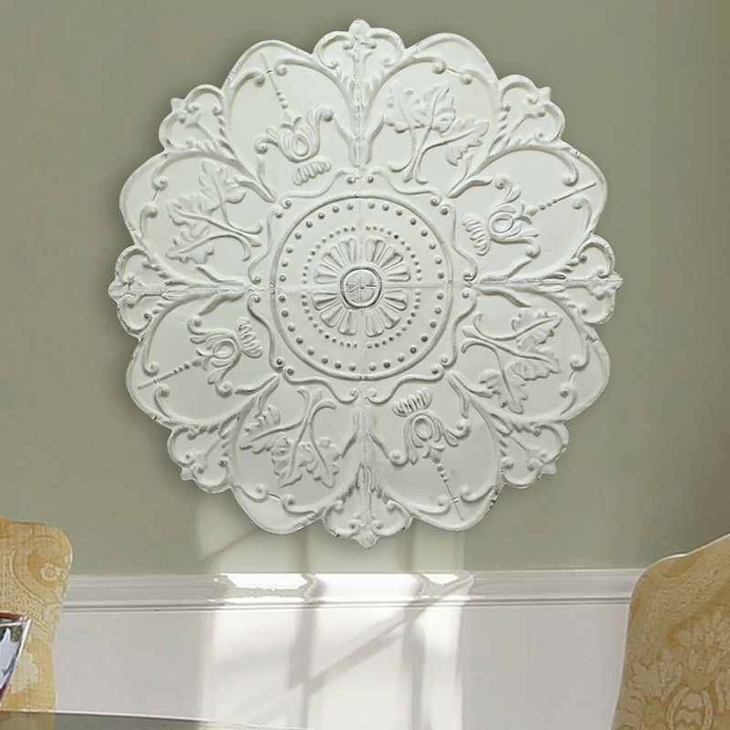 Stratton Home Medallion Metal Wall Decor White