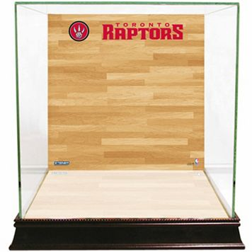 Steiner Sports Glass Basketball Display Case with Toronto Raptors Logo On Court Background