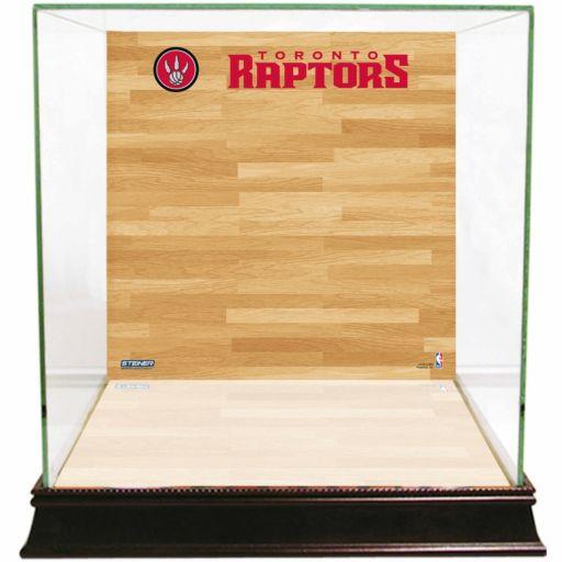 Steiner Sports Glass Basketball Display Case with Toronto Raptors Logo On Court Background