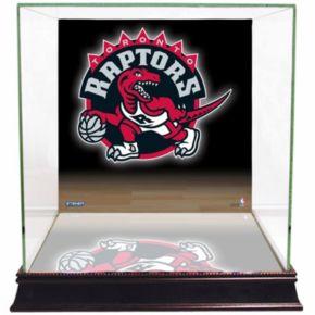 Steiner Sports Glass Basketball Display Case with Toronto Raptors Logo Background