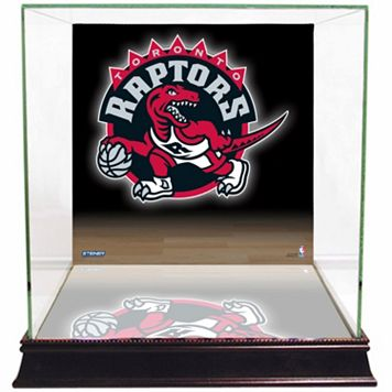 Steiner Sports Glass Basketball Display Case with Toronto Raptors Logo Background