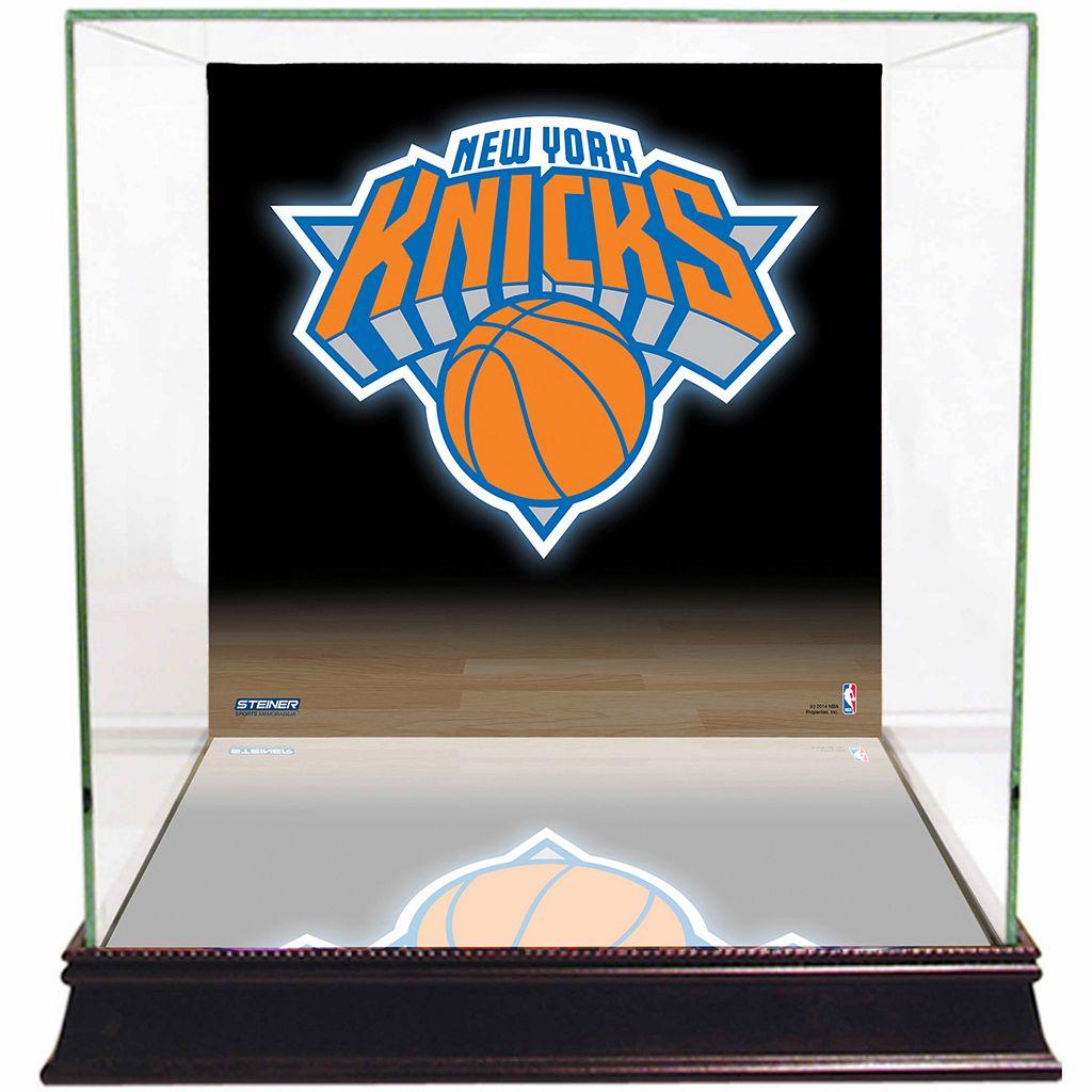 Steiner Sports Glass Basketball Display Case with New York Knicks Logo Background