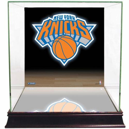Steiner Sports Glass Basketball Display Case with New York Knicks Logo Background