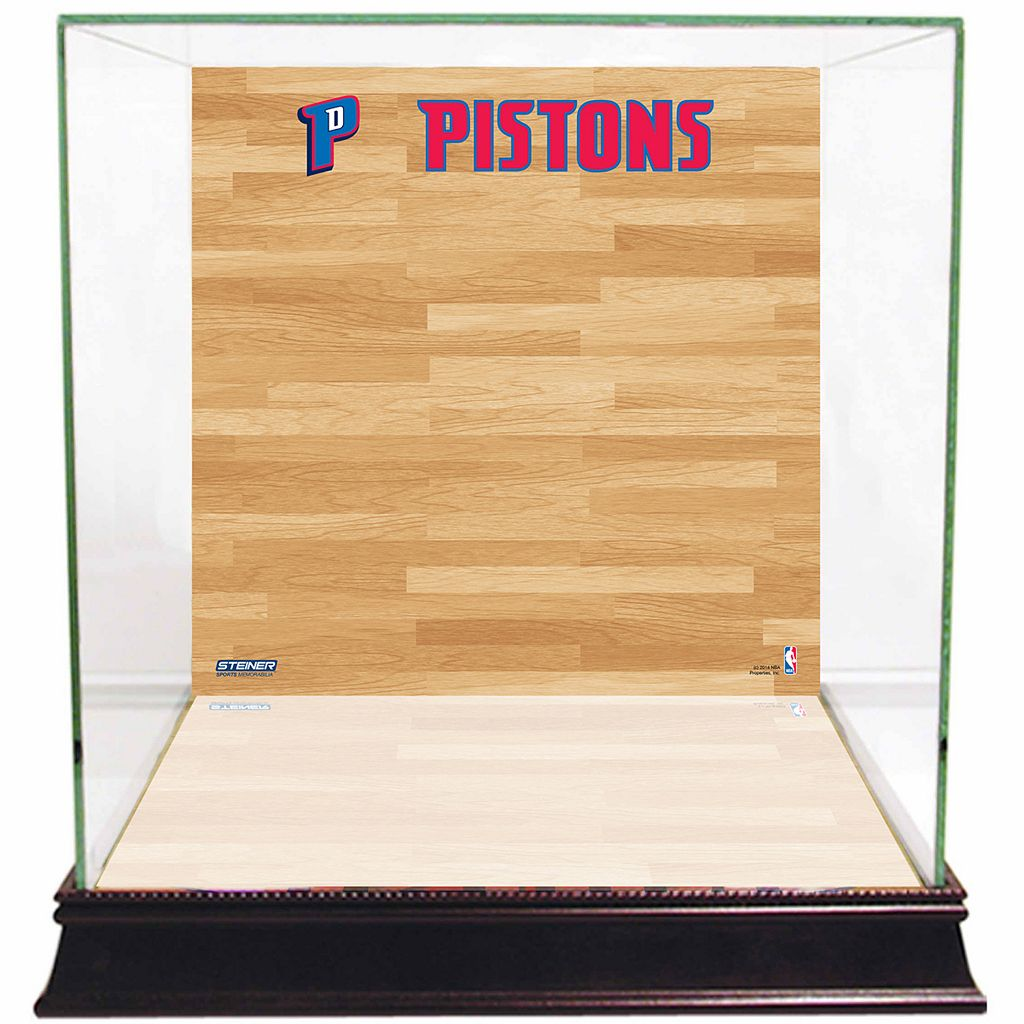 Steiner Sports Glass Basketball Display Case with Detroit Pistons Logo On Court Background