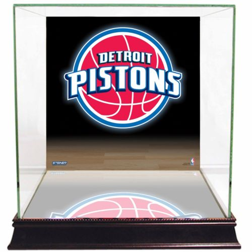 Steiner Sports Glass Basketball Display Case with Detroit Pistons Logo Background