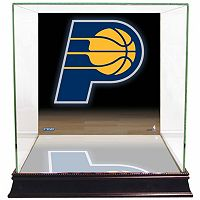 Steiner Sports Glass Basketball Display Case with Indiana Pacers Logo Background