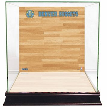 Steiner Sports Glass Basketball Display Case with Denver Nuggets Logo On Court Background