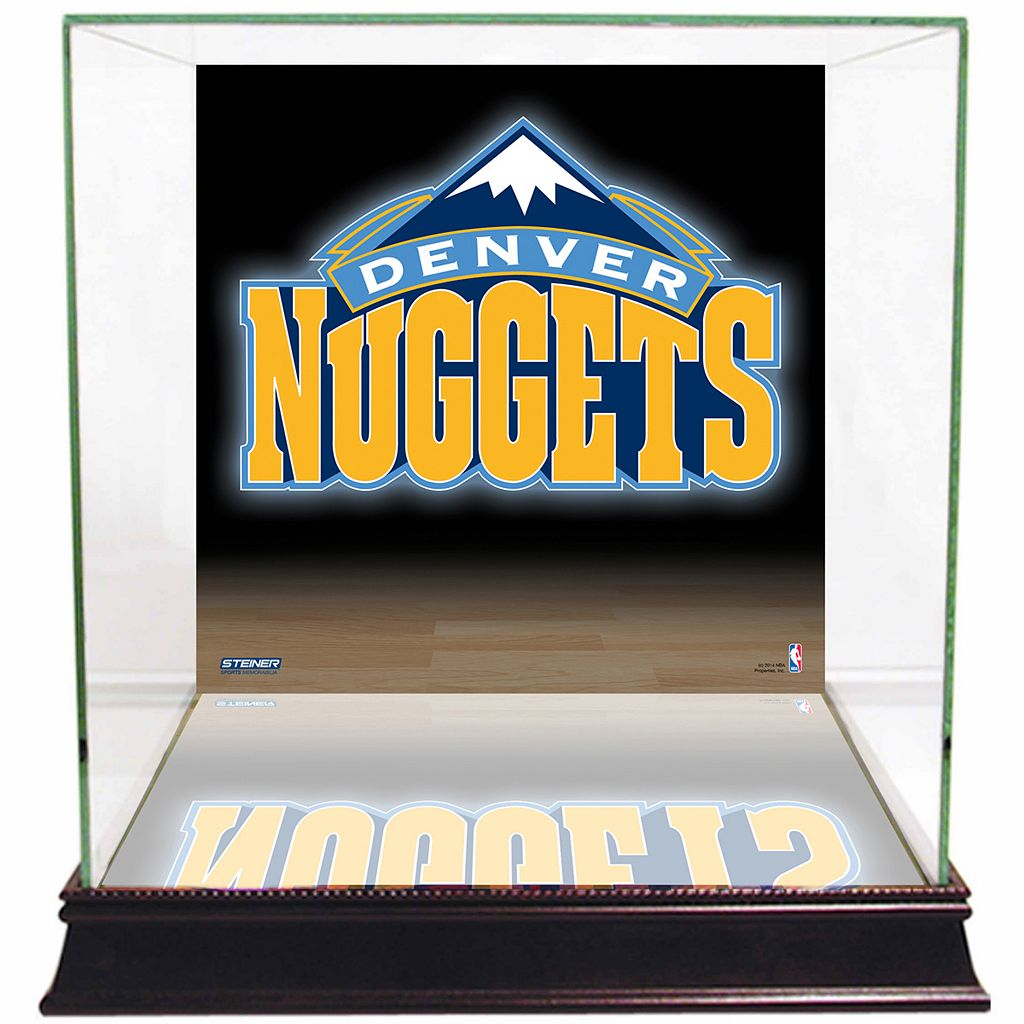 Steiner Sports Glass Basketball Display Case with Denver Nuggets Logo Background