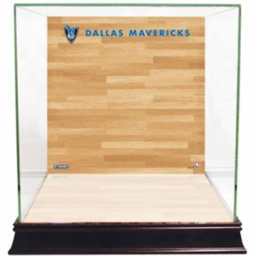 Steiner Sports Glass Basketball Display Case with Dallas Mavericks Logo On Court Background