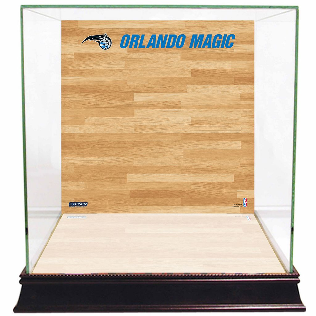 Steiner Sports Glass Basketball Display Case with Orlando Magic Logo On Court Background