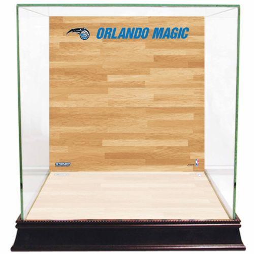 Steiner Sports Glass Basketball Display Case with Orlando Magic Logo On Court Background