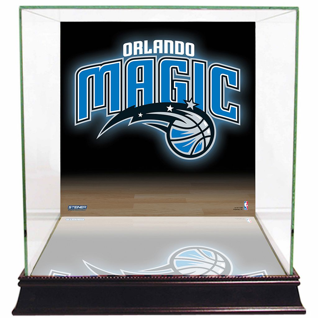 Steiner Sports Glass Basketball Display Case with Orlando Magic Logo Background