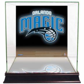 Steiner Sports Glass Basketball Display Case with Orlando Magic Logo Background
