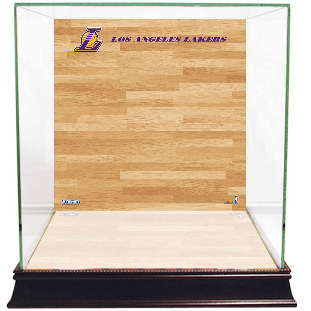 Steiner Sports Glass Basketball Display Case with Los Angeles Lakers Logo On Court Background