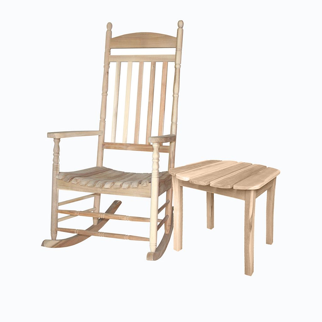 Porch 2-piece Natural Rocking Chair & Side Table Set
