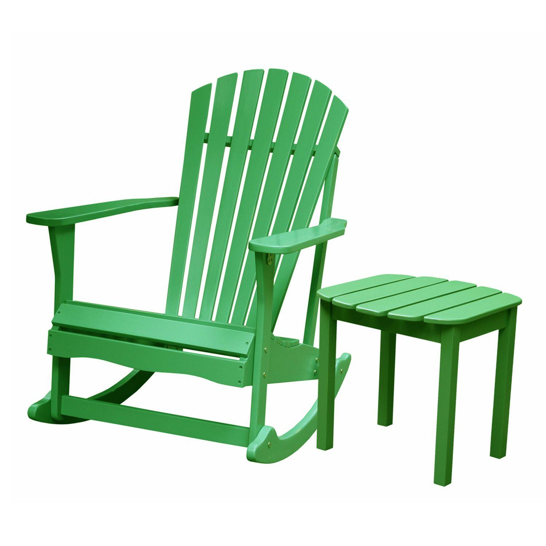 2piece adirondack rocking chair u0026 side table set - Adirondack Rocking Chair